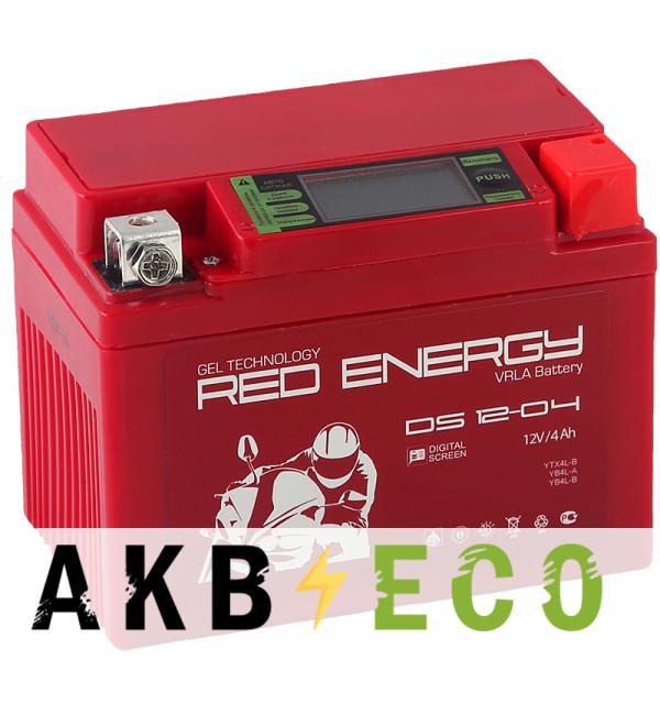 Мотоциклетный аккумулятор Red Energy DS 1204, 12V 4Ah 60А (114х70х86) YB4L-B, YB4L-A, YTX4L-BS