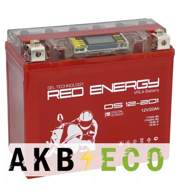 Мотоциклетный аккумулятор Red Energy DS 12201, 12V 20Ah 285А (177x88x154) YTX20L-BS, YTX20HL-BS, YB18L-A