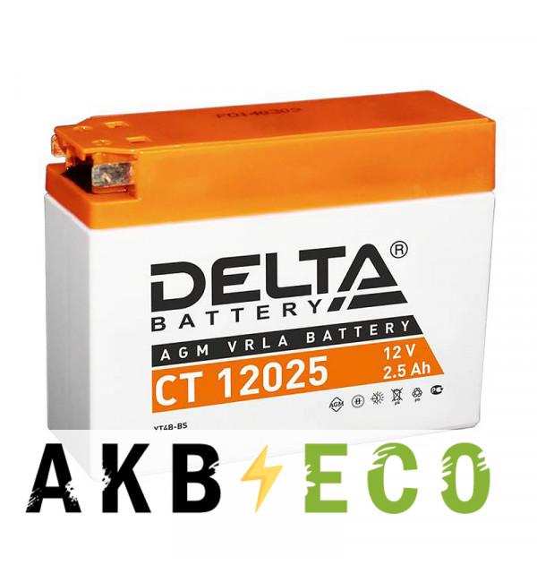 Мотоциклетный аккумулятор Delta CT 12025, 12V 2.5Ah, 40А (113x38x85) YT4B-BS