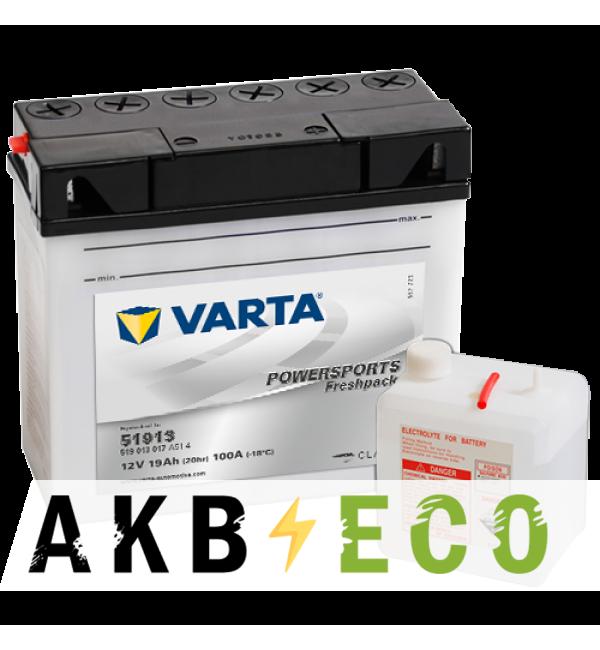 Мотоциклетный аккумулятор VARTA Powersports Freshpack 519013 12V 19Ah 100А (184x77x170) обр. пол. 519 013 017, сухозар.
