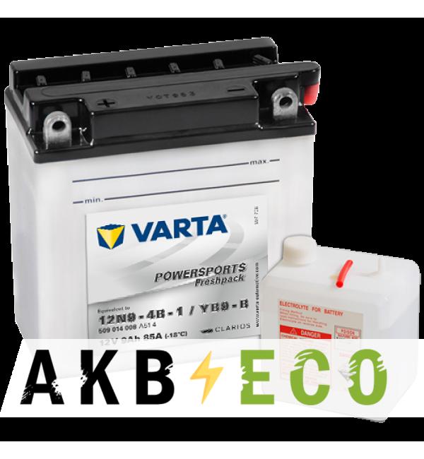 Мотоциклетный аккумулятор VARTA Powersports Freshpack 12N9-4B-1 12V 9Ah 85А (136x76x134) прям. пол. 509 014 008, сухозар.