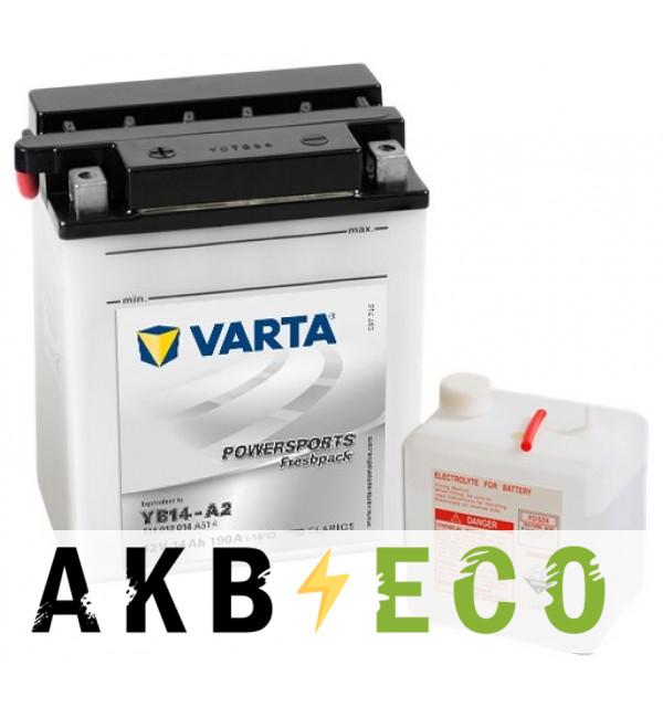 Мотоциклетный аккумулятор VARTA Powersports Freshpack YB14-A2 12V 14Ah 190А (136x91x168) прям. пол. 514 012 014, сухозар.