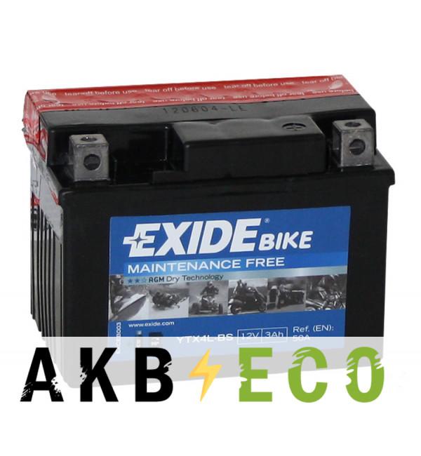 Мотоциклетный аккумулятор Exide AGM сухозаряж. ETX4L-BS 12V 3Ah 50A (113x70x85) обр. пол.