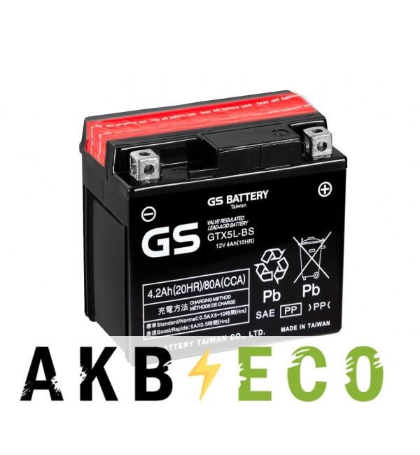 Мотоциклетный аккумулятор GS GTX5L-BS 12V 4Ah 80А (114x71x106) обр. пол. AGM сухозаряж. GS YUASA