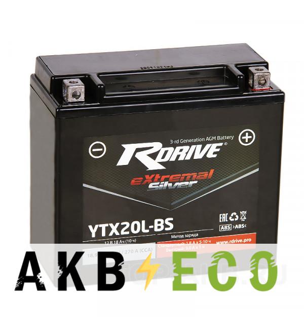 Мотоциклетный аккумулятор RDrive YTX20L-BS 12V 18Ah 270А обр. пол. AGM сухозаряж. (176x87x154) eXtremal SILVER