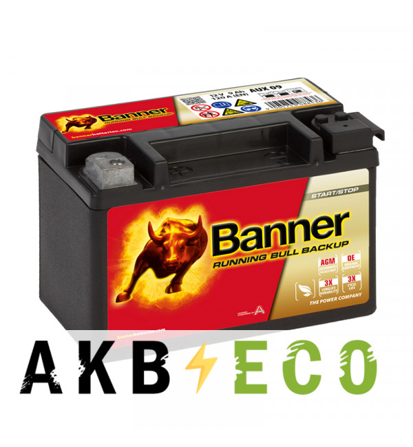 Мотоциклетный аккумулятор BANNER Running Bull AGM BACKUP (509 00 / AUX 09) 9L 120A 150x88x106