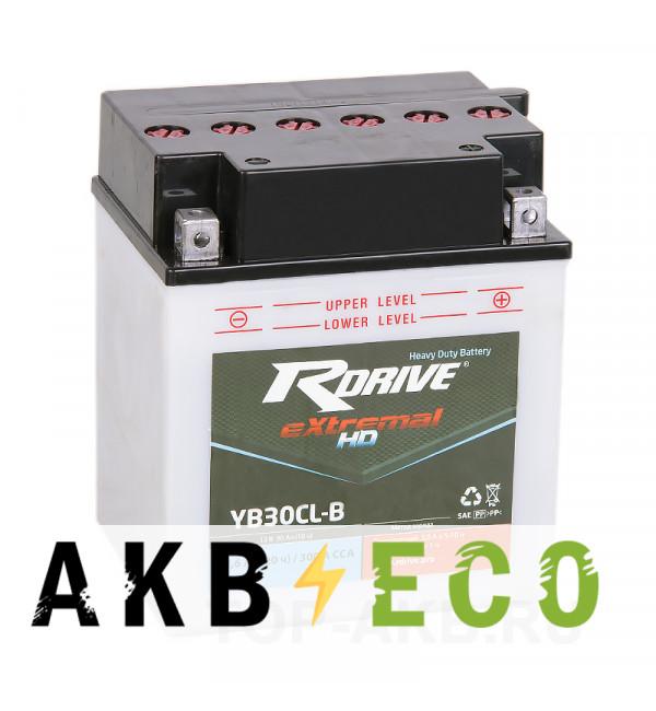 Мотоциклетный аккумулятор RDrive YB30CL-B 12V 30Ah 300А обр. Heavy Duty (165x130x192) eXtremal HDсухозаряж.