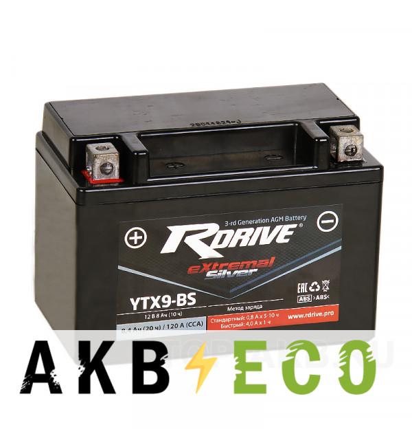 Мотоциклетный аккумулятор RDrive YTX9-BS 12V 8Ah 120А прям. пол. AGM сухозаряж. (150x87x105) eXtremal SILVER
