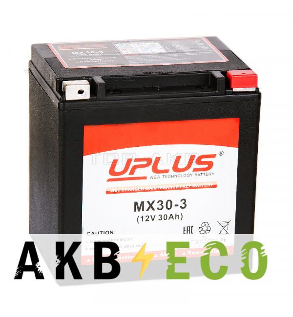 Мотоциклетный аккумулятор Uplus MX30-3 12V 30Ah 440А обр. пол. (166x131x175) Power Sport