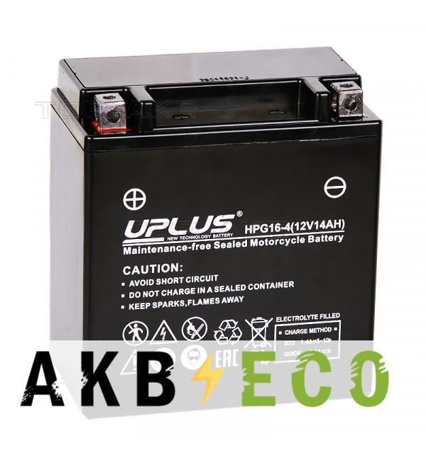 Мотоциклетный аккумулятор Uplus HPG16-4 12V 14Ah 170А прям. пол. (150x87x161) Nano GEL