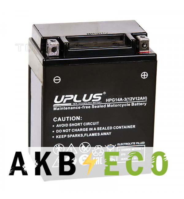Мотоциклетный аккумулятор Uplus HPG14A-3 12V 12Ah 180А обр. пол. (135x90x167) Nano GEL