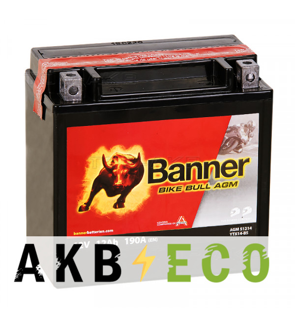 Аккумулятор для скутера Banner Bike Bull AGM 51214 YTX14-BS 12 Ач прям. пол. 190А (150x87x146) сухозаряж.