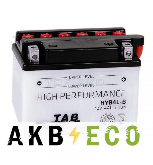Мотоциклетный аккумулятор TAB Moto High performance HYB4L-B 12V 4Ah 60A (120х70х92) обр. пол. сухоз.