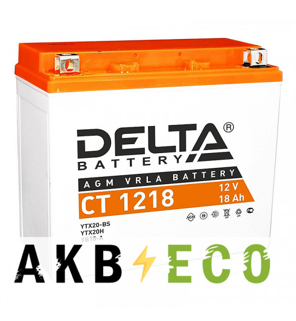 Мотоциклетный аккумулятор Delta CT 1218, 12V 18Ah, 270А (177x88x154) YTX20-BS, YB16-B, YB18-A