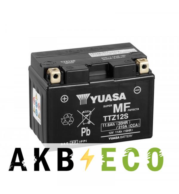 Мотоциклетный аккумулятор Yuasa TTZ12S (CP) - 11 Ач 210А (150x87x110) прям. пол. AGM сухозаряж.