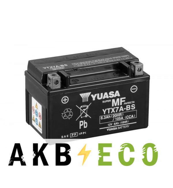 Мотоциклетный аккумулятор Yuasa YTX7A-BS - 6 Ач 105А (151x88x94) прям. пол. AGM сухозаряж.