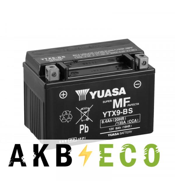 Мотоциклетный аккумулятор Yuasa YTX9-BS - 8 Ач 135А (151x88x106) прям. пол. AGM сухозаряж.