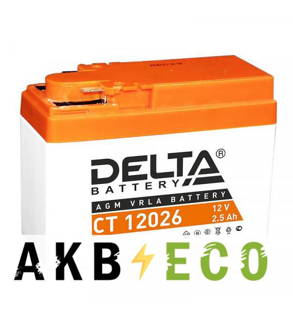 Мотоциклетный аккумулятор Delta CT 12026, 12V 2.5Ah, 45А (114x49x86) YTR4A-BS