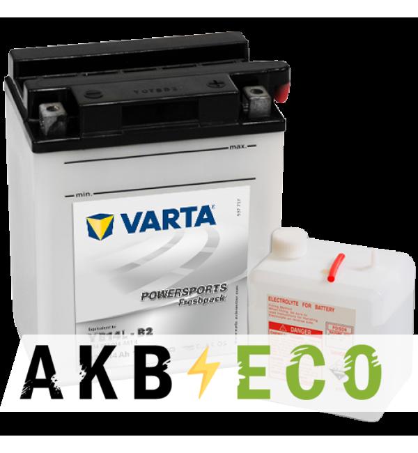 Мотоциклетный аккумулятор VARTA Powersports Freshpack YB14L-B2 12V 14Ah 190А (136x91x168) обр. пол. 514 013 014, сухозар.