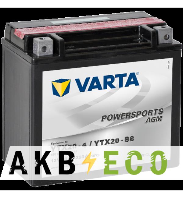 Мотоциклетный аккумулятор VARTA Powersports AGM YTX20-BS 12V 18Ah 250А (177x88x156) прям. пол. 518 902 026, сухозар.