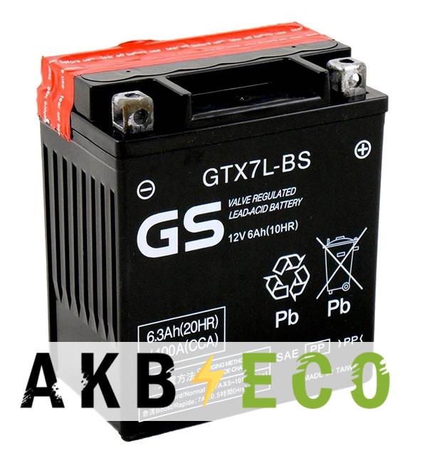 Мотоциклетный аккумулятор GS GTX7L-BS 12V 6Ah 105А (114x71x131) обр. пол. AGM сухозаряж. (GS YUASA)