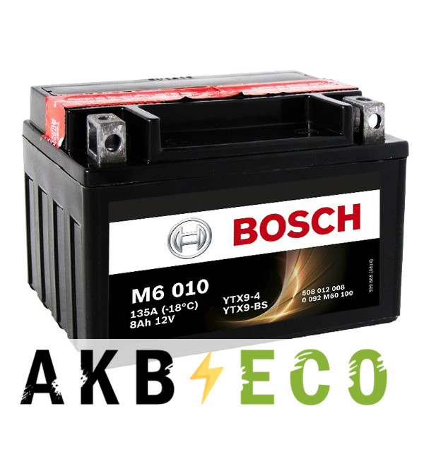 Мотоциклетный аккумулятор Bosch Moto AGM 8 Ач 135А (152x88x106) M60100 прямая пол.