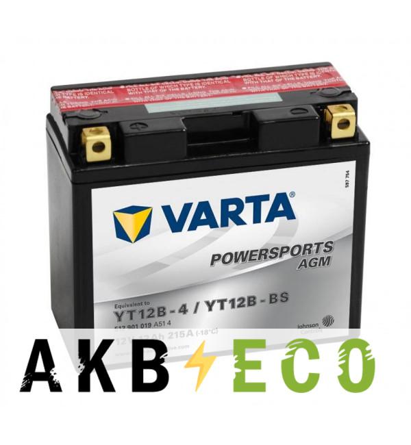 Мотоциклетный аккумулятор VARTA Powersports AGM YT12B-4/YT12B-BS 12V 12Ah 215А (151x70x131) прямая пол. 512 901 019, сухозар.