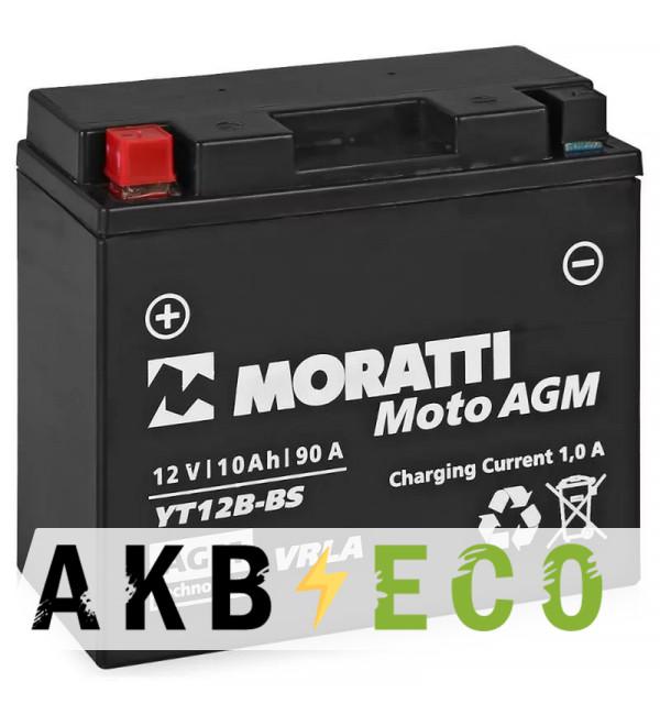 Мотоциклетный аккумулятор Moratti Moto YT12B-BS 10 Ач 90А (150x69x130) прям. пол. AGM