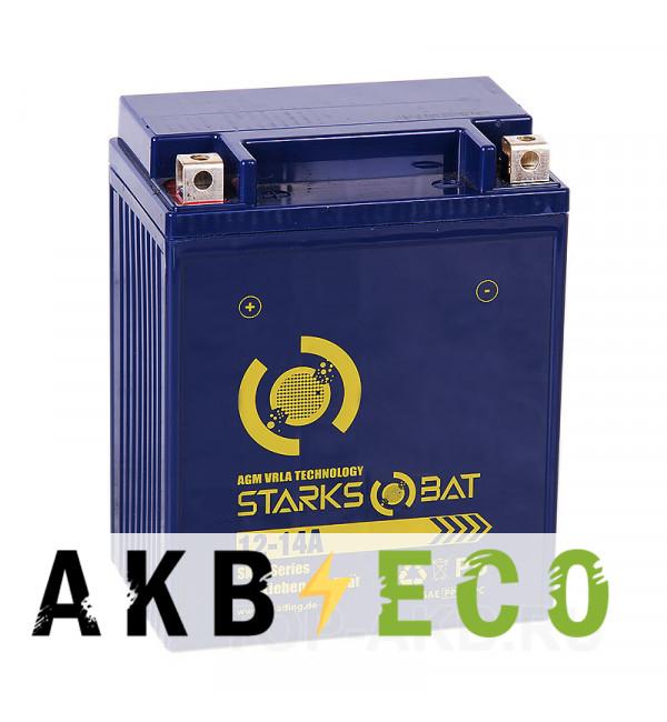 Мотоциклетный аккумулятор STARKS BAT YT S 12-14A 14 ач +- 180A (135x89x160) YB14A-A2, YTX14-AH-BS, YB12-A2 AGM