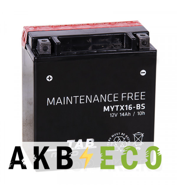 Мотоциклетный аккумулятор TAB Moto Maintenance free MYTX16-BS 12V 14Ah 230A (150x87x161) прям. пол. AGM сухоз.