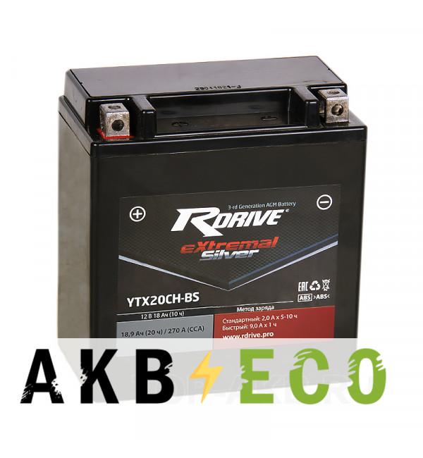 Мотоциклетный аккумулятор RDrive YTX20CH-BS 12V 18Ah 250А прям. пол. AGM сухозаряж. (150x87x161) eXtremal SILVER