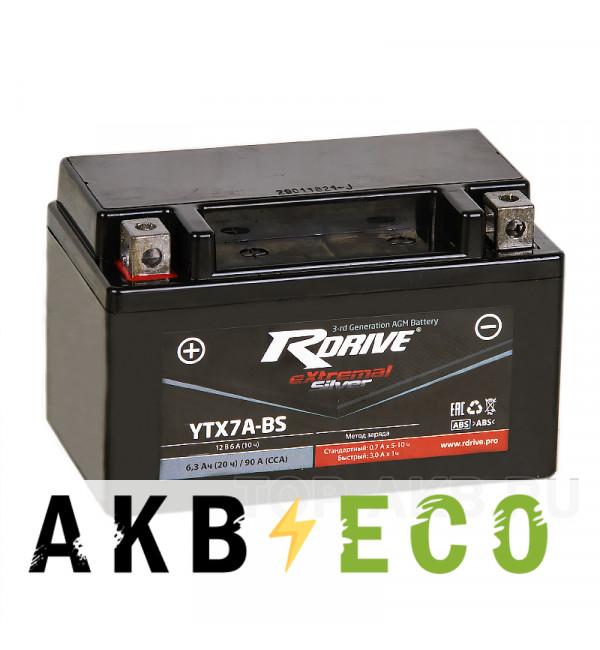 Мотоциклетный аккумулятор RDrive YTX7A-BS 12V 6Ah 90А прям. пол. AGM сухозаряж. (150x87x93) eXtremal SILVER