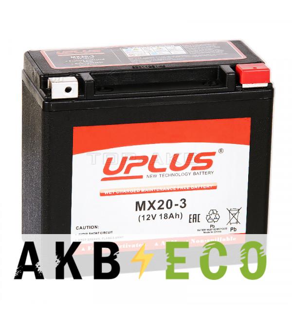 Мотоциклетный аккумулятор Uplus MX20-3 12V 18Ah 310А обр. пол. (176x87x154) Power Sport