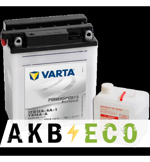 Мотоциклетный аккумулятор VARTA Powersports Freshpack 12N12A-4A-1 12V 12Ah 160А (136x82x161) п/п 512 011 012, сух.