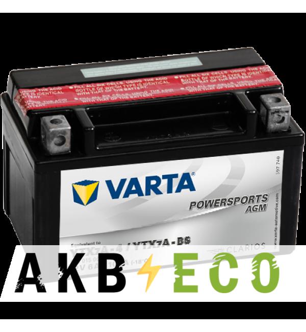 Мотоциклетный аккумулятор VARTA Powersports AGM YTX7A-4/YTX7A-BS-1 12V 6Ah 105А (151x88x94) прямая пол. 506 015 005, сухозар.