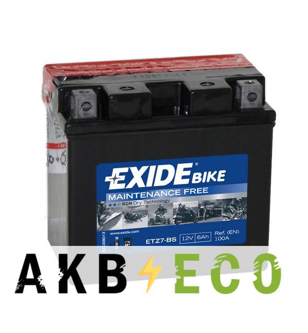 Мотоциклетный аккумулятор Exide AGM сухозаряж. ETZ7-BS 12V 6Ah 100A (113x70x105) обр. пол.