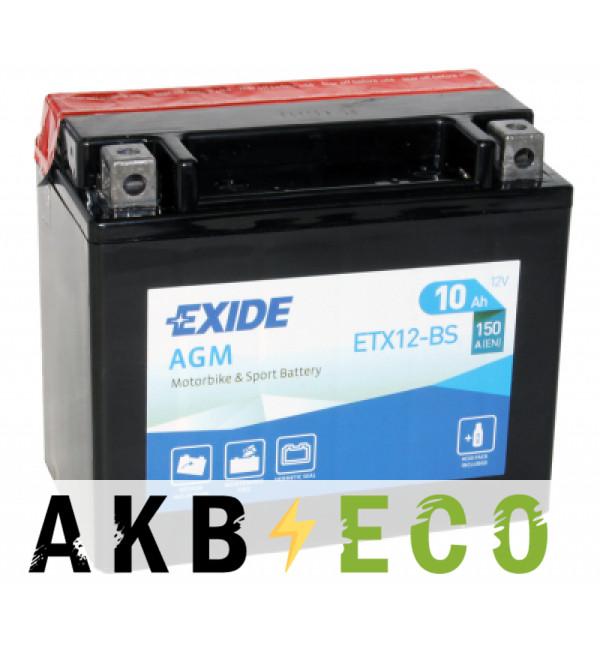 Мотоциклетный аккумулятор Exide AGM сухозаряж. ETX12-BS 12V 10Ah 150A (150х87х130) прям. пол.