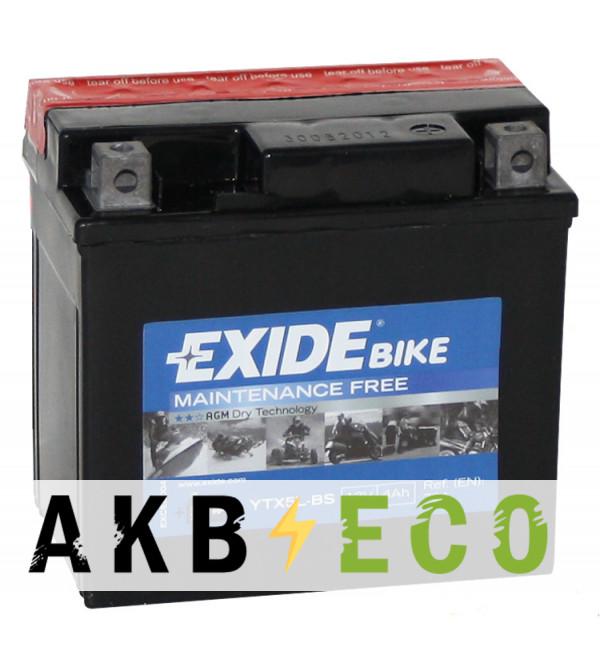 Мотоциклетный аккумулятор Exide AGM сухозаряж. ETX5L-BS 12V 4Ah 70A (113x70x105) обр. пол.