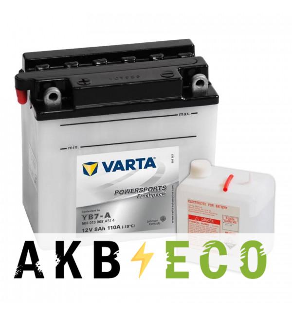 Мотоциклетный аккумулятор VARTA Powersports Freshpack YB7-A8 Ач 110А (137x76x134) прямая пол. 508 013 008, сухозар.