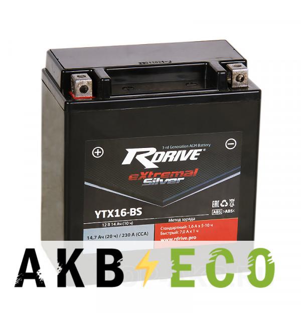 Мотоциклетный аккумулятор RDrive YTX16-BS 12V 14Ah 230А прям. пол. AGM сухозаряж.(150x87x161) eXtremal SILVER