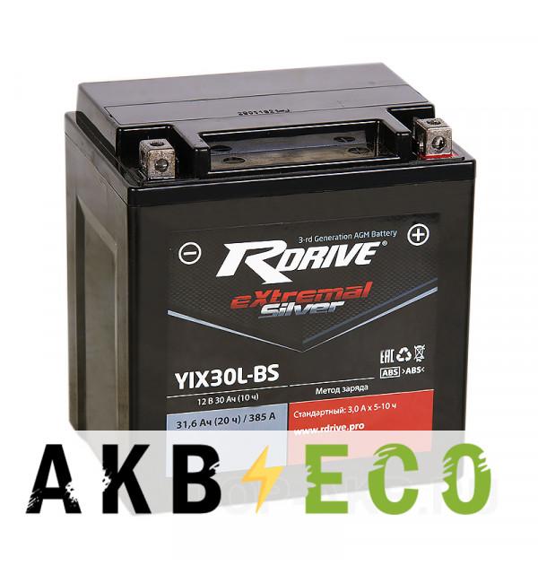 Мотоциклетный аккумулятор RDrive YIX30L-BS 12V 30Ah 385Аобр. AGM сухозаряж. (165x125x175) eXtremal SILVER