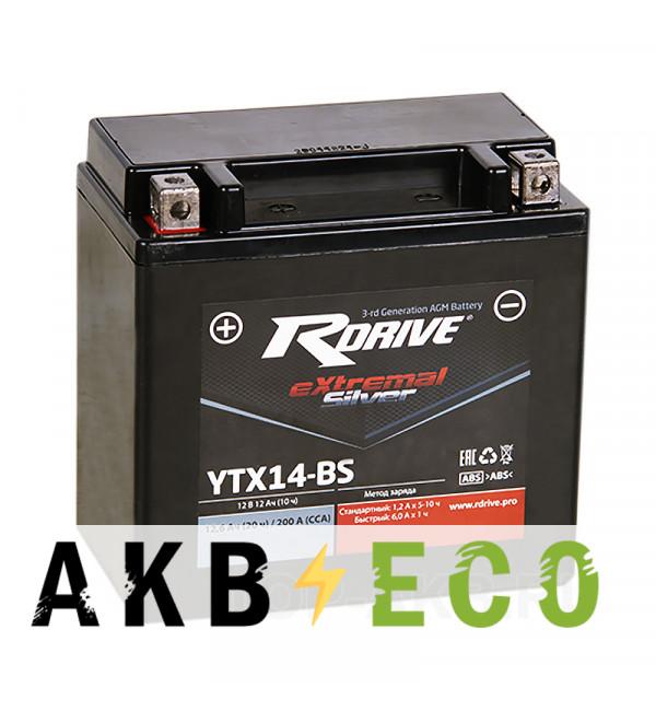 Аккумулятор для скутера RDrive YTX14-BS 12V 12Ah 200А прям. пол. AGM сухозаряж. (150x87x145) eXtremal SILVER