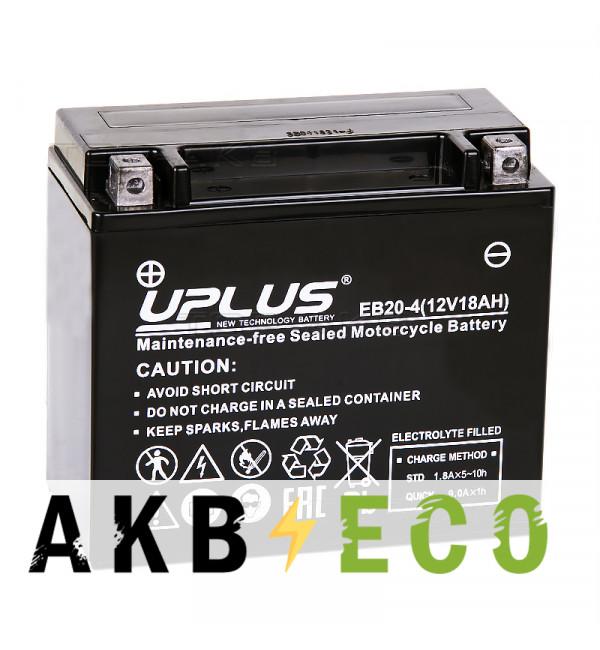 Мотоциклетный аккумулятор Uplus EB20-4 12V 18Ah 270А прям.пол. (175x87x155) Super Start High Performance AGM YTX20-BS