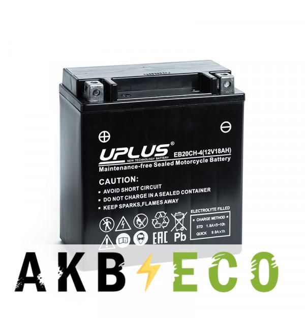 Мотоциклетный аккумулятор Uplus EB20CH-4 12V 18Ah 270А прям.пол. (150x87x161) Super Start High Performance AGM
