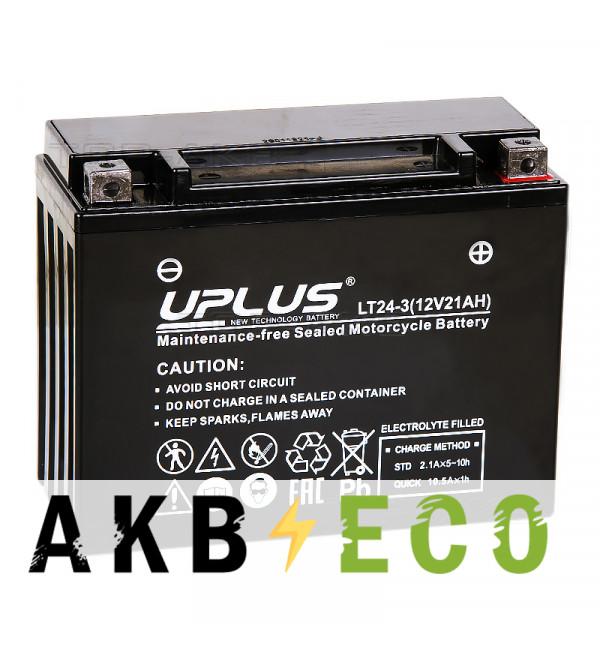 Мотоциклетный аккумулятор Uplus LT24-3 12V 21Ah 350А обр. пол. (205x87x162) Super Start AGM