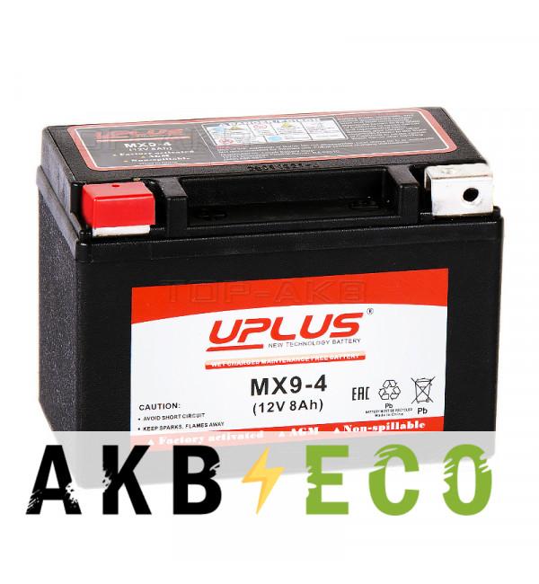 Мотоциклетный аккумулятор Uplus MX9-4 12V 8Ah 120А прям. пол. (150x87x105) Power Sport
