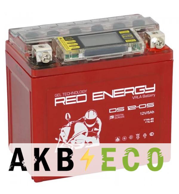 Мотоциклетный аккумулятор Red Energy DS 1205, 12V 5Ah 85А (114x70x106) YTX5L-BS, YTZ7S, YT5L-BS