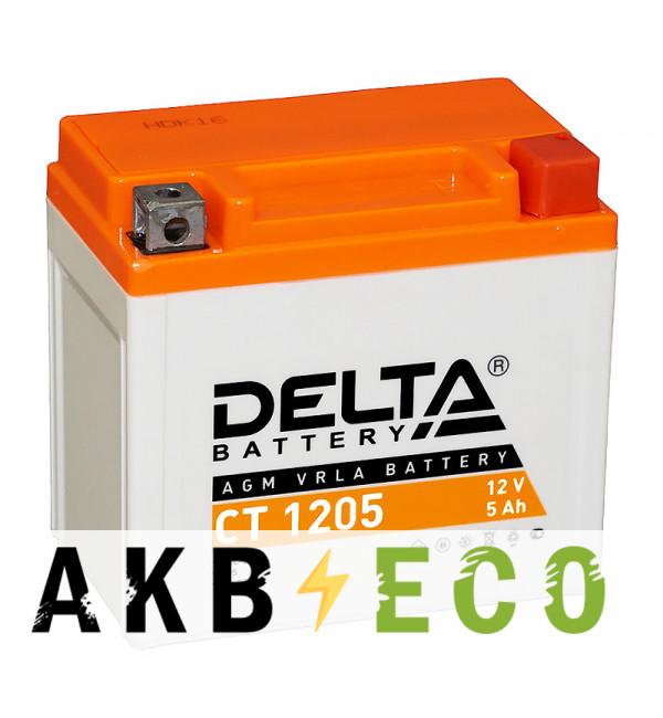 Мотоциклетный аккумулятор Delta CT 1205, 12V 5Ah, 80А (114x69x109) YTX5L-BS, YTZ7S, YT5L-BS