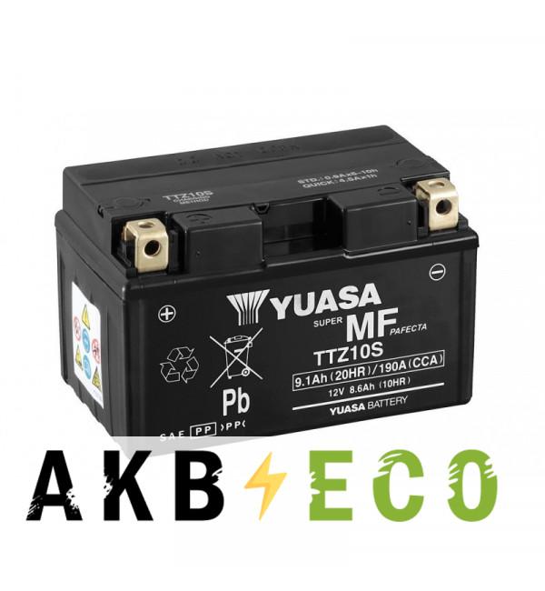 Мотоциклетный аккумулятор Yuasa TTZ10S (CP) - 8,6 Ач 190А (150x87x93) прям. пол. AGM сухозаряж.