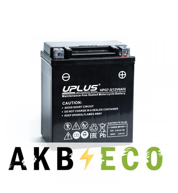 Мотоциклетный аккумулятор Uplus HPG7-3 12V 6Ah 85А обр. пол. (114x71x131) Nano GEL